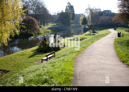 Chelmsford town center showing river chelmer and bridge in distance - Stock Photo