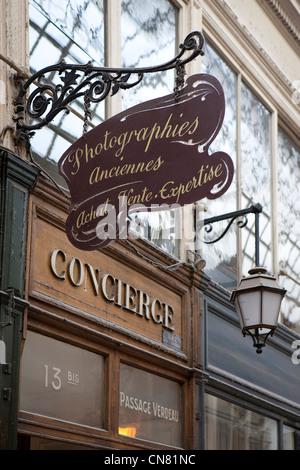 France, Paris, Passage Verdeau, detail of the architecture inside the Passage - Stock Photo