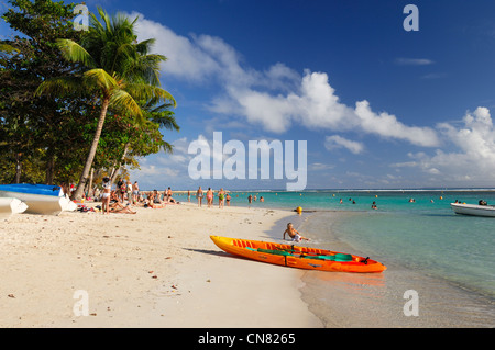 France, Guadeloupe (French West Indies), Grande Terre, Sainte Anne, kayak on the municipal beach of Saint Anne - Stock Photo