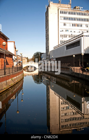 Chelmsford town center showing river chelmer and stone bridge in distance - Stock Photo