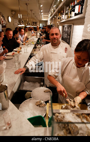 United States, New York City, Manhattan, chef of the Ed's Lobster Bar, restaurant specialized in seafood, 222 Lafayette - Stock Photo