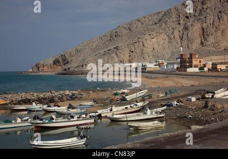 Hafen von Bukha, Bucha, in der omanischen Enklave Musandam, Oman - Stock Photo