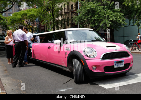 United States, New York City, Manhattan, Austin Mini transformed into limousine - Stock Photo