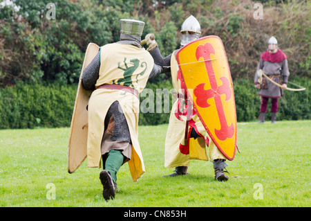 'History in action' re-enactment. Two knights fighting on the lawn - Stock Photo