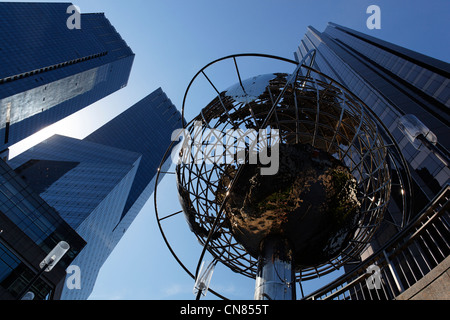 United States, New York City, Manhattan, Columbus Circle, metallique map of the world - Stock Photo