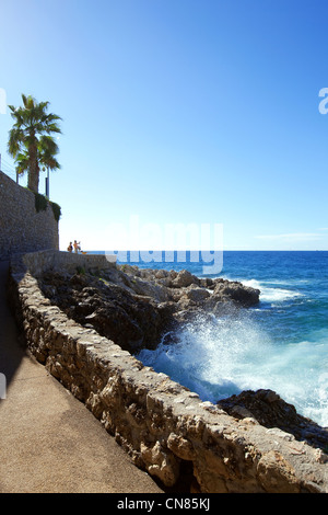 France, Alpes Maritimes, Cap d'Ail, the coastal trail - Stock Photo
