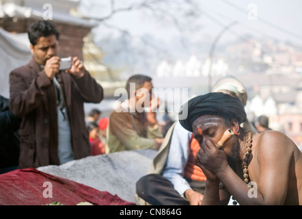 Man photographing sadhu smoking pipe during the annual Shivaratri  festival at  Pashupatinath temple , Kathmandu - Stock Photo