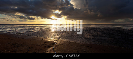 Panorama of autumn sunset and showers at low tide in the Wash at Snettisham, Norfolk, UK - Stock Photo