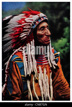 First published 1916  La Mouse Flathead Chief Indian Glacier National Park - Stock Photo