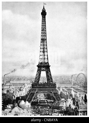 First published 1914  Eiffel Tower Paris France, Europe - Stock Photo