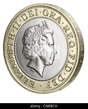 £2 two pound coin side on heads obverse 2012 - Stock Photo