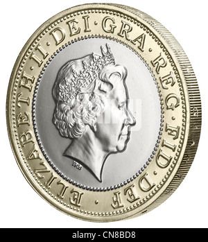 £2 two pound coin heads obverse side on - Stock Photo