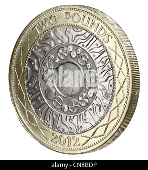 £2 two pound coin side on tails reverse 2012 - Stock Photo