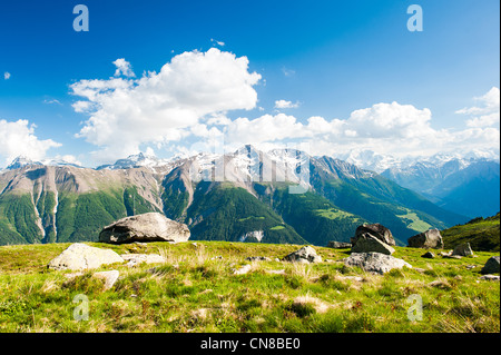 mountain panorama from fiescheralp and bettmeralp, wallis, switzerland - Stock Photo