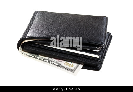 Black leather Wallet with cards and cash isolated on white background - Stock Photo