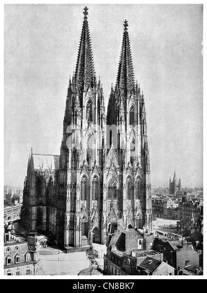 First published 1914 Cologne Cathedral Germany - Stock Photo