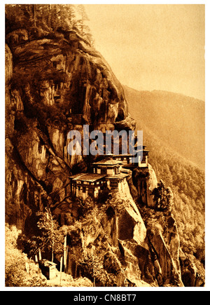 First published 1914 Paro tatsang monastery cliff bhutan