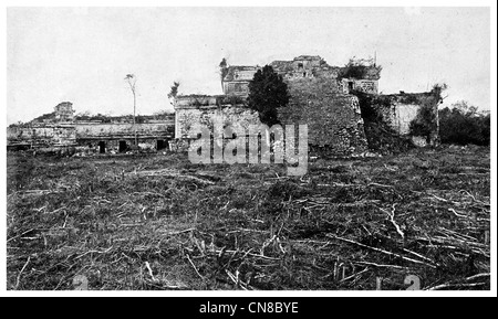 First published 1914 Majestic Pile Aztec Mexico Nunnery ruin uxmal cental america - Stock Photo