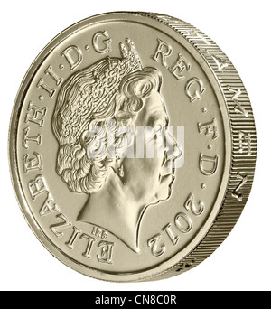 £1 one pound side on edge 2012 coin obverse - Stock Photo