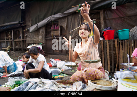 A Burmese woman sells fresh fish in a street market on the streets of Rangoon (Yangon), Burma (Myanmar) - Stock Photo