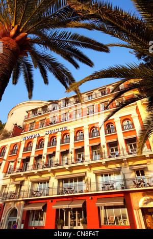 France, Alpes Maritimes, Nice, peak Ponchettes, quai Rauba Capeu, Hotel Suisse - Stock Photo