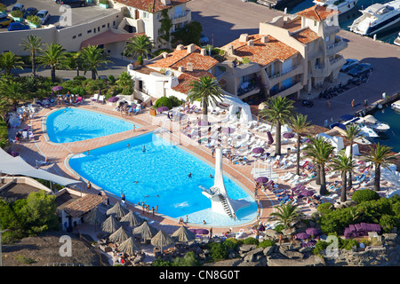 France, Alpes Maritimes, Esterel, Theoule sur Mer, tip of the galley, Hotel Club Port gallery (aerial view) - Stock Photo