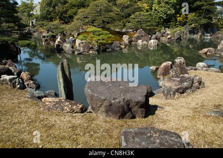 Ninomaru garden was designed by the landscape architect and garden designer Kobori Enshu and is located next to - Stock Photo