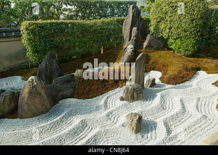 Zuiho-in is known for its modern karesansui or dry zen landscape garden esigned lby Shigemori Mirei. - Stock Photo
