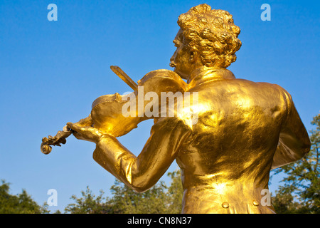 Austria, Vienna, Stadtpark, Johann Strauss monument, bronze statue of the Austrian composer mostly known for his - Stock Photo