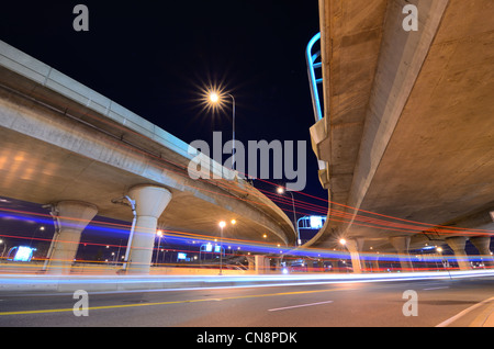 Highway and roads with light trails at night