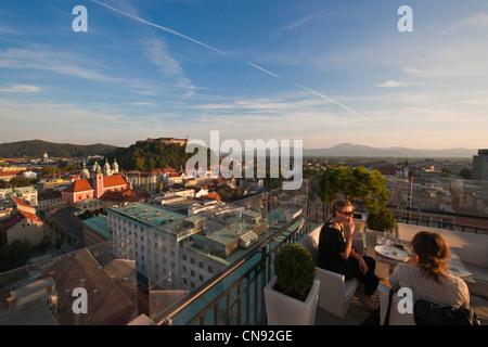 Slovenia, Ljubljana, capital town of Slovenia, panorama of the city from the terrace of the cafe Abecedarium - Stock Photo