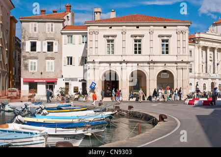 Slovenia, Gulf of Trieste, Adriatic Coast, Primorska Region, Piran, the harbour - Stock Photo