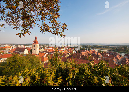 Slovenia, Lower Styria Region, Ptuj, town on the Drava River banks, the tower of the city - Stock Photo