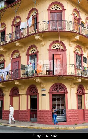 Panama, Panama City, historic town listed as World Heritage by UNESCO, Casco Antiguo, Barrio San Felipe - Stock Photo