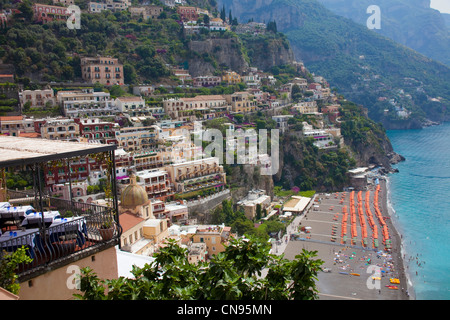 Restaurant with sea view, village Positano at the Amalfi coast, Unesco World Heritage site, Campania, Italy - Stock Photo