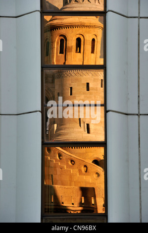 Hungary, Budapest, the historical Buda Castle district listed as World Heritage by UNESCO, Fisherman's Bastion reflecting - Stock Photo