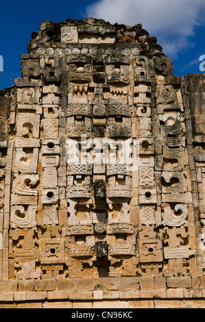 Mexico, Yucatan state, Usxmal, Mayan archaeological site in the Puuc style as Patrimony of UNESCO, the Nunnery quadrangle - Stock Photo