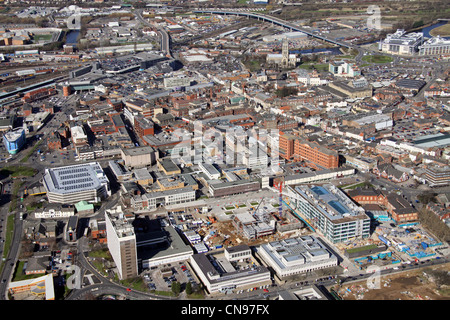aerial view of Doncaster town centre - Stock Photo