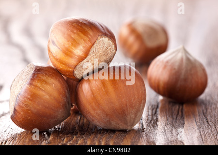 Filberts on a wooden table. Close-up shot. - Stock Photo