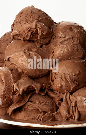 chocolate scoops detail close up Gelato ice cream - Stock Photo
