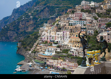 The village Positano, Amalfi coast, Unesco World Heritage site, Campania, Italy, Mediterranean sea, Europe - Stock Photo
