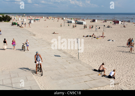 Estonia (Baltic States), Parnu, the main seaside resort of the country, Ranna beach - Stock Photo
