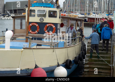 The St Mawes to Falmouth ferry 'docking' in Falmouth harbour Cornwall Devon - Stock Photo