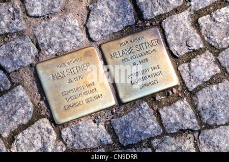 Berlin, Germany. Grosser Hamburger Strasse - Stolpersteine  /plaques on the pavement with names and details of Jews - Stock Photo