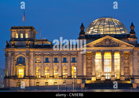 Germany, Berlin, the Reichstag or German Bundestag, German Federal Diet, a building conceived by Paul Wallot, inaugurated - Stock Photo