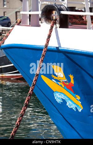 Bart Simpson painted on bow of  boat. - Stock Photo