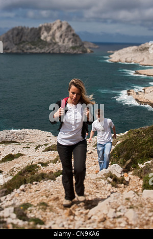 France, Bouches du Rhone, Marseille, hiking to the creek in Callelongue - Stock Photo