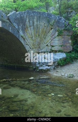 France, Vaucluse, Parc Naturel Regional du Luberon (Natural Regional Park of Luberon), near Lourmarin, river Aiguebrun, - Stock Photo