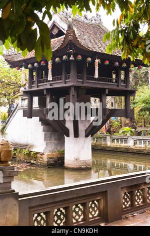 The one pillar pagoda, Chua Mot Cot, in Presidential Palace complex, Hanoi, Vietnam - Stock Photo