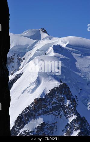 France, Haute Savoie, Chamonix, Mont Blanc du Tacul (4248 m) seen from Aiguille du Midi - Stock Photo